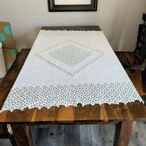 Vintage Crochet White Handmade Table Cloth
